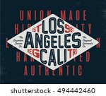 vintage los angeles california... | Shutterstock .eps vector #494442460