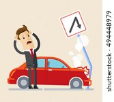 insurance  concept. upset man... | Shutterstock .eps vector #494448979