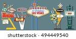 classic american signboards set ... | Shutterstock .eps vector #494449540