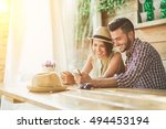 handsome young couple having... | Shutterstock . vector #494453194