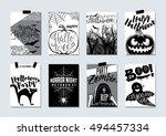 collection of happy halloween... | Shutterstock .eps vector #494457334