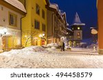 streets of ski resort at night... | Shutterstock . vector #494458579