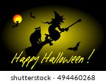 witch on a broomstick  witch ... | Shutterstock .eps vector #494460268
