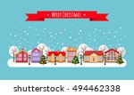 winter town. flat style vector... | Shutterstock .eps vector #494462338