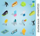 isometric tennis set icons....