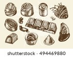hand drawn set of different... | Shutterstock .eps vector #494469880