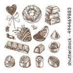 hand drawn set of different... | Shutterstock .eps vector #494469883