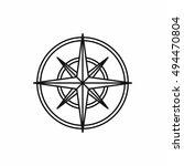 compass wind rose in outline... | Shutterstock . vector #494470804