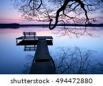 Calm Lake At Sunset  Wooden...