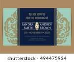 beautiful wedding invitation... | Shutterstock .eps vector #494475934