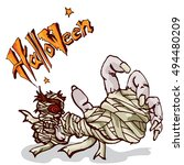 halloween zombie  | Shutterstock .eps vector #494480209