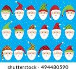 vector set of cute santa claus... | Shutterstock .eps vector #494480590