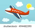 plane flying in sky. vector... | Shutterstock .eps vector #494482390