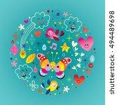 birds clouds hearts butterfly... | Shutterstock .eps vector #494489698