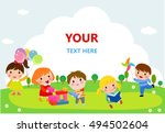 cute kids playing with toys ... | Shutterstock .eps vector #494502604