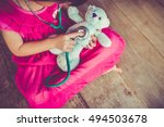 top view of child playing... | Shutterstock . vector #494503678
