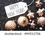 bronze christmas balls ... | Shutterstock . vector #494511736
