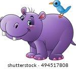 cartoon funny hippo with bird | Shutterstock .eps vector #494517808