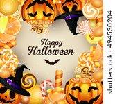 halloween background with... | Shutterstock .eps vector #494530204