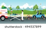 bike collided with a car... | Shutterstock .eps vector #494537899
