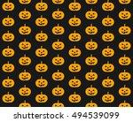 pumpkin seamless pattern... | Shutterstock .eps vector #494539099