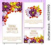 invitation with floral... | Shutterstock . vector #494539990