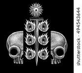 mystic symbols set. graphic... | Shutterstock . vector #494543644