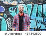 portrait of a young latin man... | Shutterstock . vector #494543800