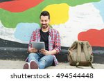 portrait of young latin man... | Shutterstock . vector #494544448