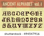 ancient alphabet  ornamental... | Shutterstock .eps vector #494547916