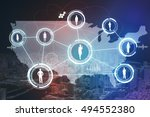social network of the united... | Shutterstock . vector #494552380