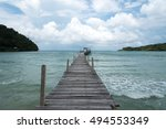 wood bridge and sea | Shutterstock . vector #494553349