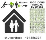 family house icon with 1000... | Shutterstock .eps vector #494556334