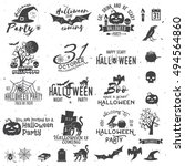 set of halloween party concept... | Shutterstock .eps vector #494564860
