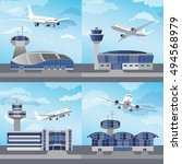 airport building set with... | Shutterstock .eps vector #494568979