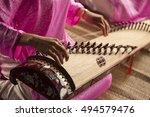 woman play a traditional korean ... | Shutterstock . vector #494579476