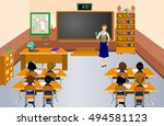 students with the teacher in... | Shutterstock .eps vector #494581123