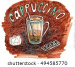 sketch cup of coffe with slices ... | Shutterstock . vector #494585770