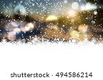 winter background with bokeh ... | Shutterstock .eps vector #494586214