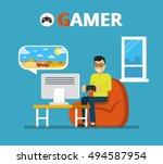 man sitting on beanbag holds...   Shutterstock .eps vector #494587954