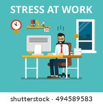 stress at work concept. tired... | Shutterstock .eps vector #494589583