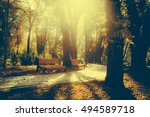 bench in the autumn park | Shutterstock . vector #494589718