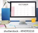 october monthly calendar weekly ... | Shutterstock . vector #494593210