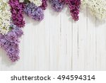 the beautiful lilac on a wooden ... | Shutterstock . vector #494594314