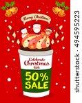 christmas sale promotion poster ... | Shutterstock .eps vector #494595223