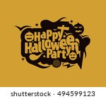 happy halloween greeting card... | Shutterstock .eps vector #494599123