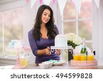 beautiful woman home holiday... | Shutterstock . vector #494599828