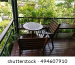 desk and chairs in garden ... | Shutterstock . vector #494607910
