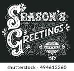 seasons greetings. hand drawn... | Shutterstock .eps vector #494612260
