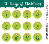 hand drawn 12 days of christmas ... | Shutterstock .eps vector #494612440